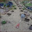 埋もれた飛び石を掘り出す