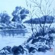 日暮れの早い冬(水墨画)