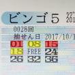 ビンゴ5第28回の購入数字と抽選結果