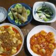 2/24 ばんごはん  春巻き、海老チリ、麻婆豆腐