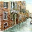 水彩画・ベネチュアを描く 4  ベネチュアの裏通り   340×240