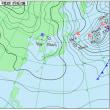 2月18日 アメダスと天気図。