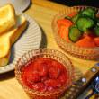 ジャムトースト・塩トマト・・・おっと夕餉