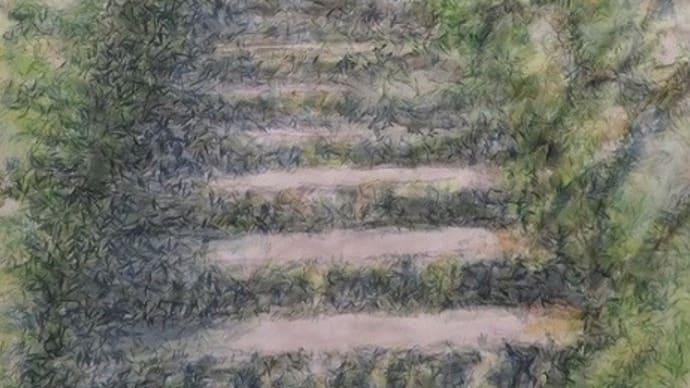 楽描き水彩画「緑の中の石段道」