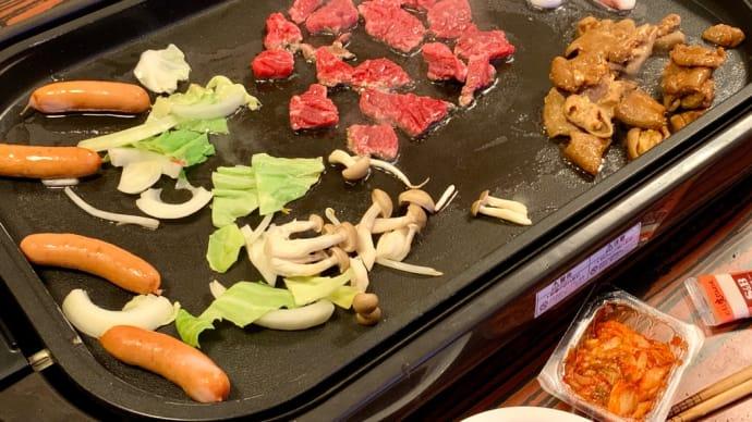 焼き肉と蒜山焼きそばの夕食