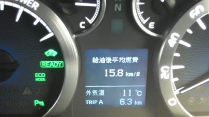 ヴェルファイアHVの燃費速報といいたいところですが。