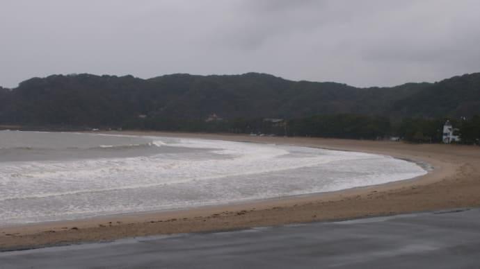 弓ヶ浜は土砂波で落ち着かない。雨の中をマリンタウン伊東にやってきた(2016/3/7)