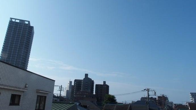 今朝(8月25日)の東京のお天気:晴れ、8月の温度統計、8月の作品:野辺の二人