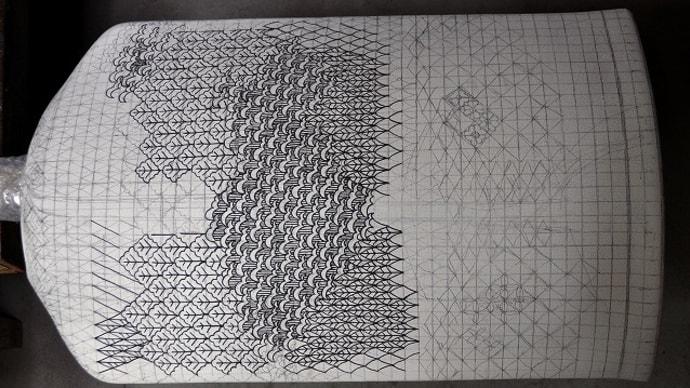 369.My「ゴス幾何文様楯状花器」の制作(1/4)~デザイン➨骨描き