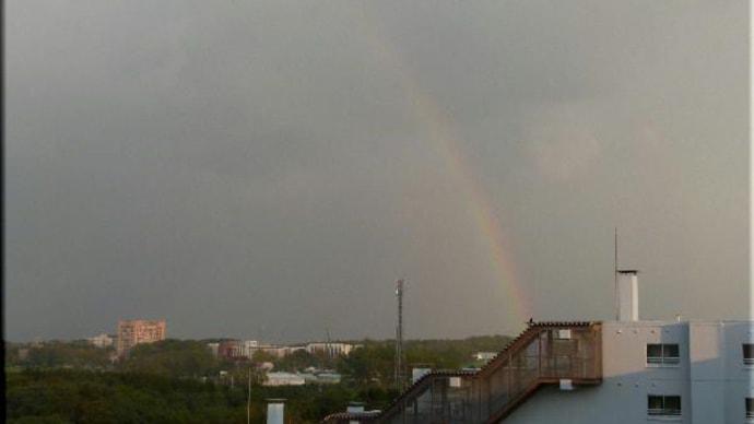虹と昨日の月