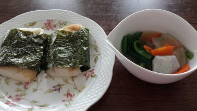 10/8の朝御飯(磯部餅)/義母の往診