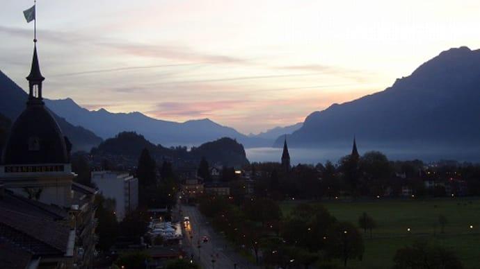 スイスの朝焼け