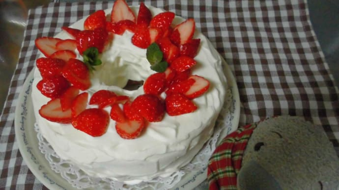 イチゴとココアのシフォンケーキと3年目のダイソーミョウガです。