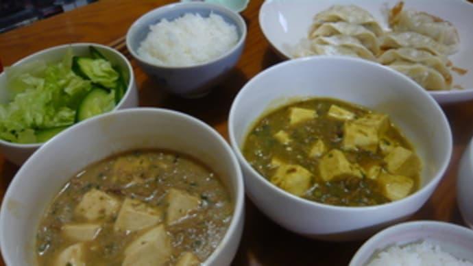 今日の晩御飯(味噌味とカレー味の麻婆豆腐)