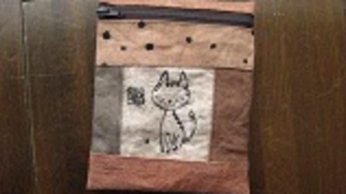 柿渋染め猫ポーチ