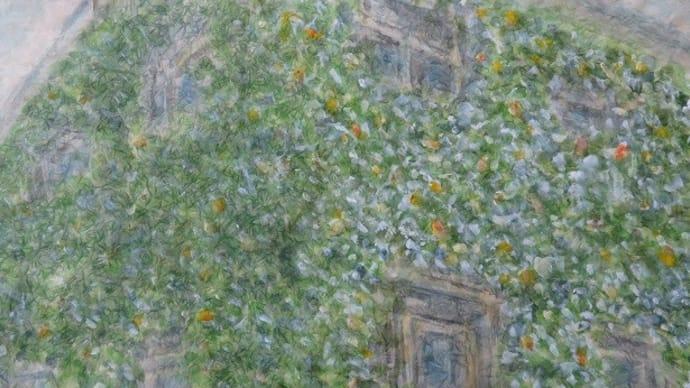 楽描き水彩画「蔓性植物に覆われたビルの壁」