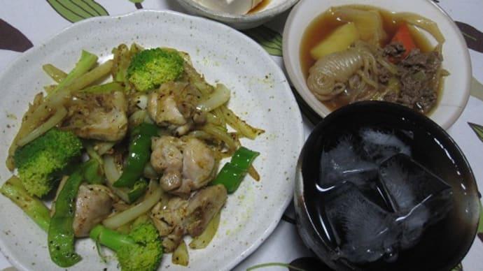 カレー炒めの夕食。