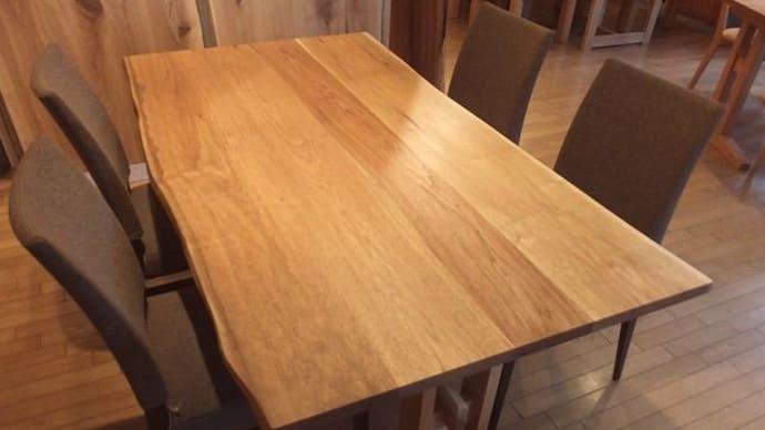 1274、クルミの接ぎテーブル。少し赤みを帯びて色づいてきました。一枚板と木の家具の専門店エムズファニチャーです。