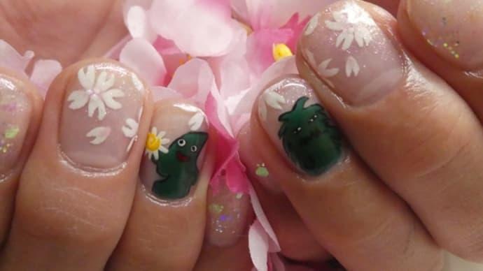ヤマトンとモリゾーのジェルネイル・桜バージョン(2020年2月)