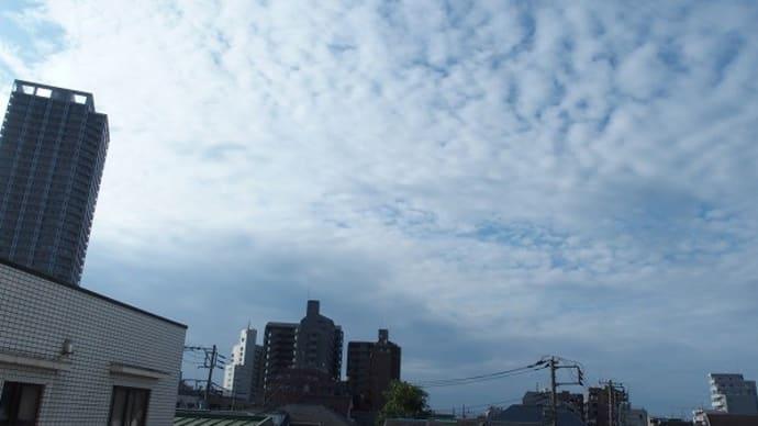 今朝(9月18日)の東京のお天気:曇り、9月の作品:横の二人