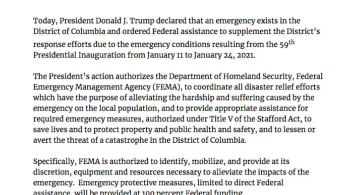 ワシントン、緊急事態宣言:国土安全保障省(DHS)連邦緊急事態管理庁(FEMA)に権限。チャド・ウルフ氏辞任/大統領令13848号:大統領選に影響を及ぼそうとしたウクライナのデルカッチ氏らに制裁
