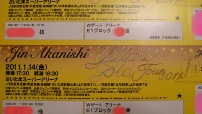 YELLOW GOLD TOUR 1月14日、席はアリーナでした。