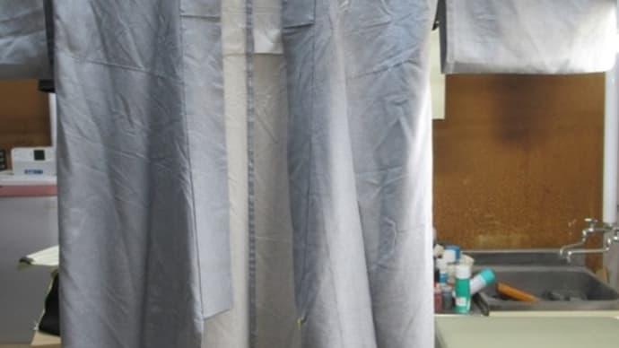 江戸小紋単衣 黄変しみ 丸洗い・しみ抜き 正絹素材
