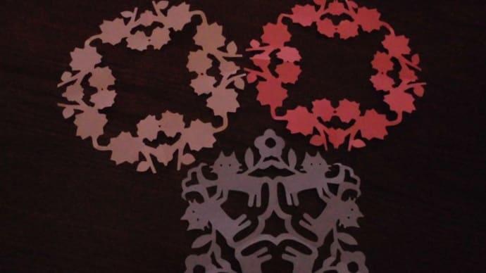 猫と桜の切り紙とプレミアムもずく。