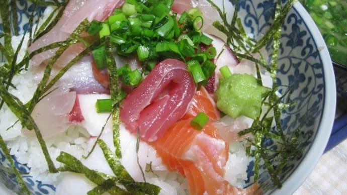 海鮮丼の朝。