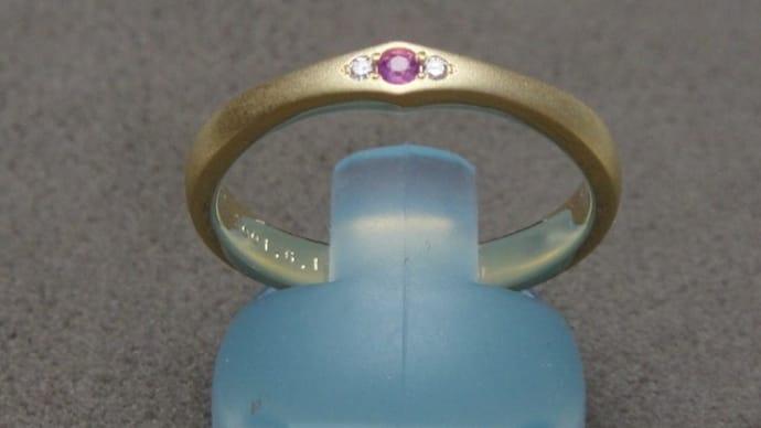 結婚指輪オーダー依頼(K18YG、ピンクサファイヤ)