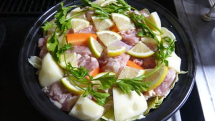 今日の晩御飯(鶏肉のレモン蒸し)