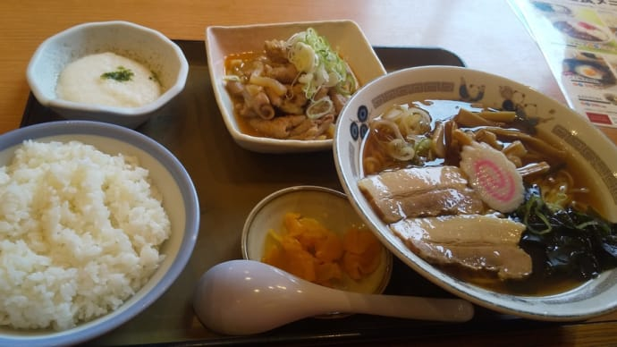 山田うどんで朝定食とパンチ