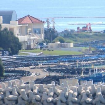 公休日で資材搬入や埋め立て工事はないが、サンゴの移植は行われる