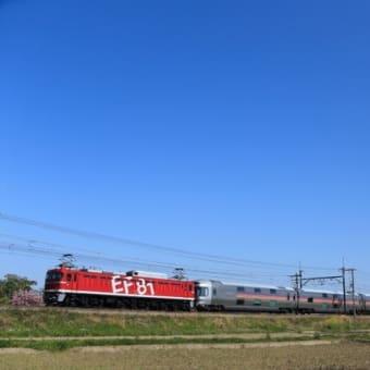虹釜でカシオペア返却回送とE653系団体臨時列車