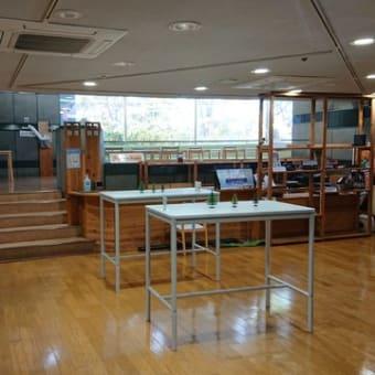 会館2階の喫茶店(まんまmiyu)コロナ対策を実施しています。