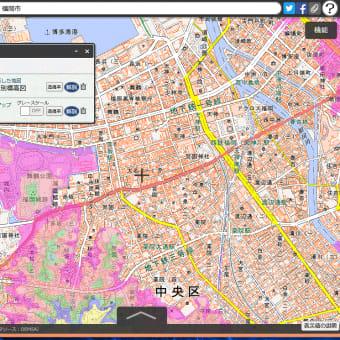 福岡県の各市町村の津波避難用の色別の標高地図。ゼロ~5~10~20~30~40メートル、40メートル以上の6段階の標高の範囲の地図