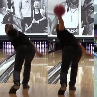 [bowling:595] arm is above parallel at the timing spot