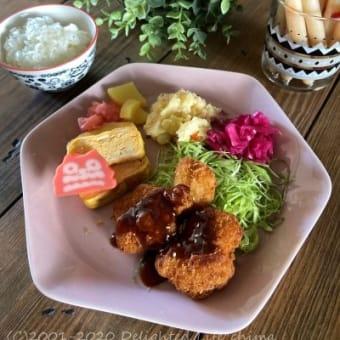 主婦めし*おうちランチ~チキンカツプレートとチーカマ