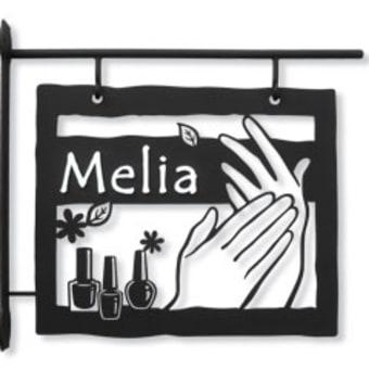 ネイルサロン「Nail Salon Melia」様のブラケット看板(設置後のお写真)