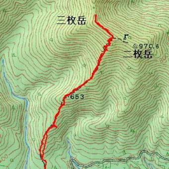 三枚岳のGPSトラック