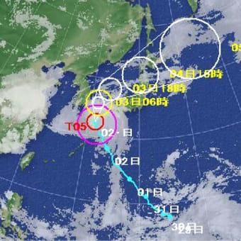 台風が接近する。