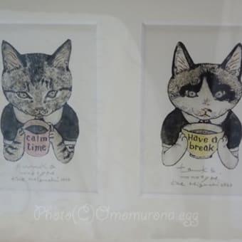 樋口佳絵さんの紙版画*ドコカ似ている猫と猫*ウレシカ