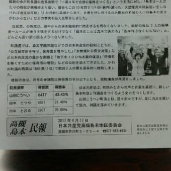島本町長、町会議員選挙で合併反対の意思示される