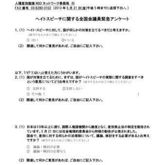 【資料】ヘイトスピーチに対する全国会議員へのアンケート
