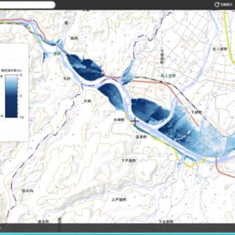 熊本県の線状豪雨範囲の地図。球磨川の人吉市の流域の氾濫(浸水)範囲を色別に書き込んだ国土地理院地図。2020年7月4日13時作成。熊本県