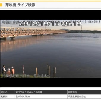 野田市 芽吹大橋通行止め・ライブカメラ