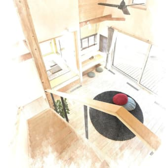 住まいの設計とデザインの事色々と・・・・・暮らしの環境を大切にLDK空間へ吹き抜けとの融合で外の良い環境部分を室内空間へ取り込む設計の工夫。