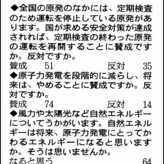 昨日の朝日新聞の世論調査