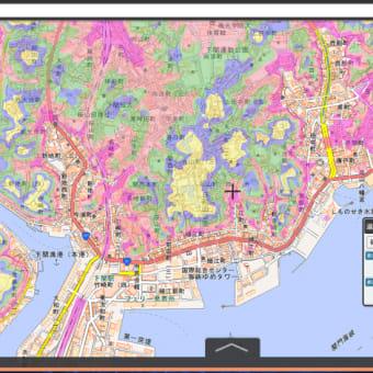 山口県の各市町村の津波避難用の色別の標高地図。ゼロ~5~10~20~30~40メートル、40メートル以上の6段階の標高の範囲の地図