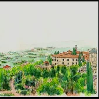 世界わがスケッチの旅 聖マルセリーノ ウンブリア地方のスケッチ